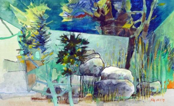 Aquarium, Spiegel, 24.05.2019, Gouache, Acryl und Farbstift auf Papier, 23,0 x 38,0 cm