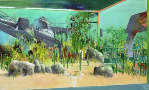 Gesunken, 2019, Acryl auf Leinwand, 55 x 90 cm