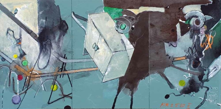 Corona-Koller, 02.05.2020, Acryl, Gouache und Farbstift auf Papier, 18 x35,7 cm