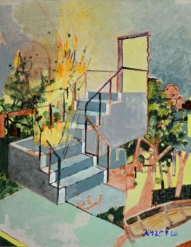 Feuertreppe, 25.09.2020, Acryl auf Papier, 62 x 51 cm