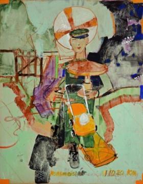 Hausmeister, 01.10.2020, Acryl auf Papier, 62 x 51 cm