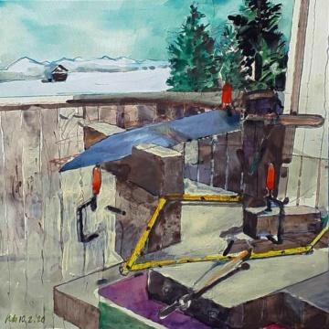 Holz, 10.02.2020, Acryl, Gouache und Farbstift auf Papier, 22,6 x 22,6 cm