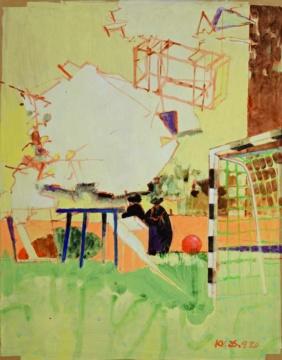 Nachbargrundstück II, 25.09.2020, Acryl auf Papier, 62 x 51 cm