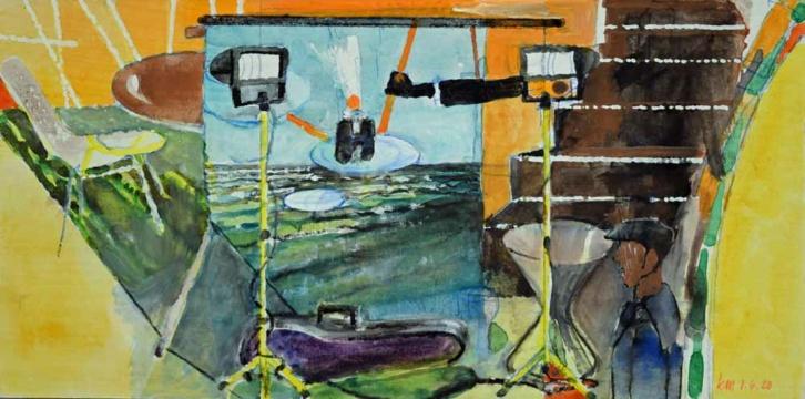 Projektion, 01.06.2020, Acryl, Gouache und Farbstift auf Papier, 18 x 35,7 cm