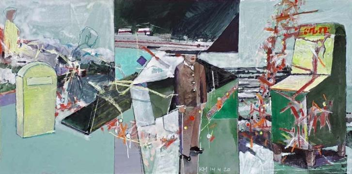 Reisewarnung, 14.04.2020, Acryl, Gouache und Farbstift auf Papier, 19 x 38 cm