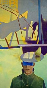 Selbst mit Birne, 2020, Acryl auf Leinwand, 130 x 70 cm