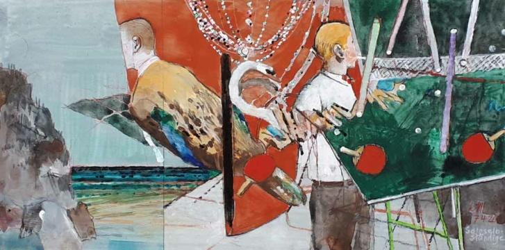 Soloselbständige, 07.04.2020, Acryl, Gouache und Farbstift auf Papier, 19 x 38 cm