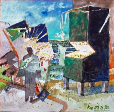 Strandautomat, 23.03.2020, Acryl, Gouache und Farbstift auf Papier, 22,6 x23 cm