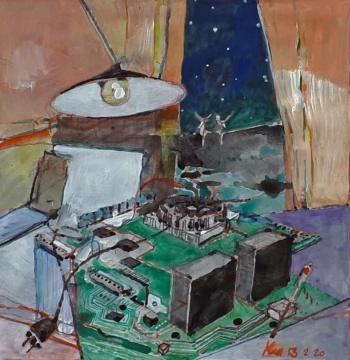 Strom, 13.02.2020, Acryl, Gouache und Farbstift auf Papier, 23 x 22,6 cm