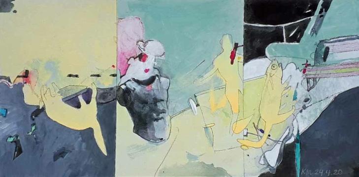 Tierwohl, 24.04.2020, Acryl, Gouache und Farbstift auf Papier, 19 x 38 cm