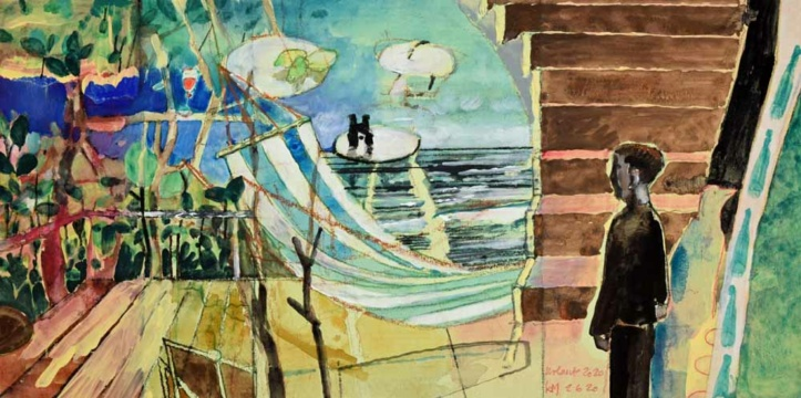 Urlaub 2020, 02.06.2020, Acryl, Gouache und Farbstift auf Papier, 19 x 38 cm