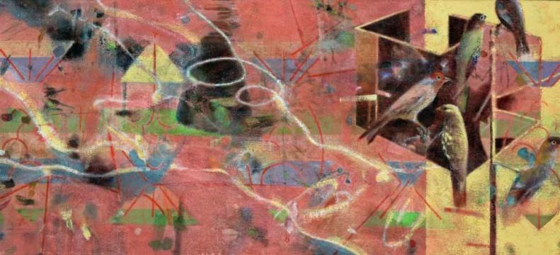 Vogelhaus, 2019, Acryl auf Frottee, 55, x 120 cm