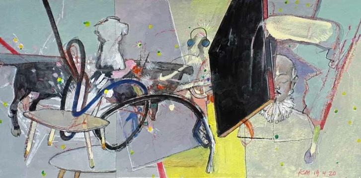 William S., 19.04.2020, Acryl, Gouache und Farbstift auf Papier, 19 x 38 cm
