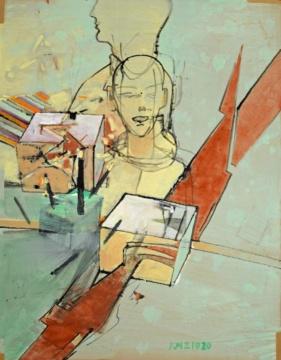 Ohne Titel, 02.10.2020, Acryl auf Papier, 68 x 54 cm
